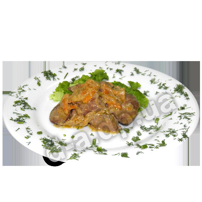 Печень куриная с овощами в сметане